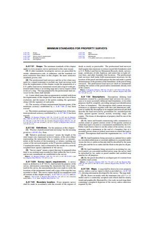 Minimum Standards for Property Survey