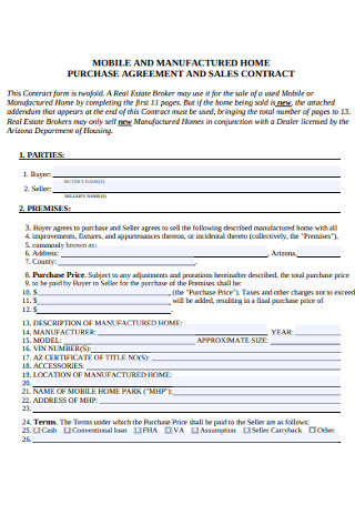 Mobile and Home Purchase Agreement