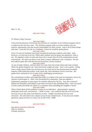 Mock Letter of Recommendation