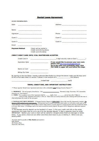 Mountain Lodge Rental Agreement