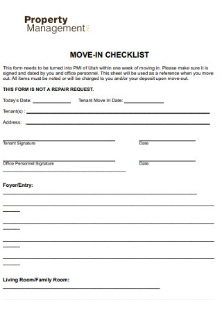 Move in Management Checklist