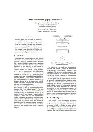 Multi Document Biography Summarization