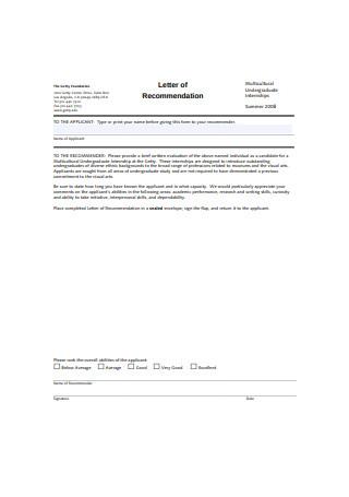 Multicultural Undergraduate Internship Letter of Recommendation