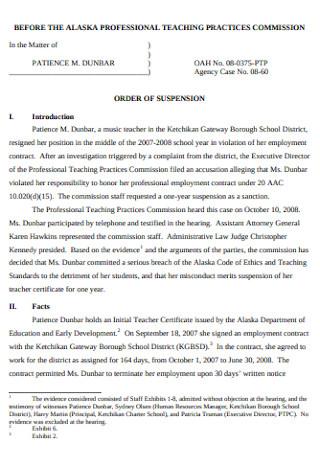 Music Teacher Resignation Letter