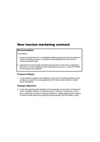 New Tourism Marketing Contract