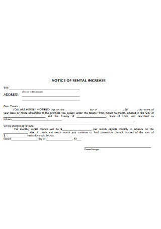 Notice of Rent Increases Letter