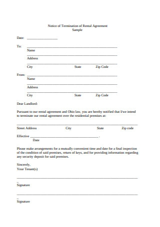 Notice of Termination of Rental Agreement