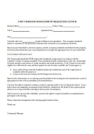 Notice of denied Unit by Tenant