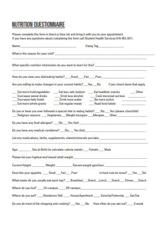 Nutrition Questionnaire