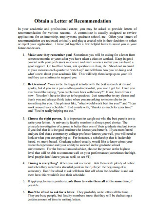 Obtain a Letter of Recommendation Letter
