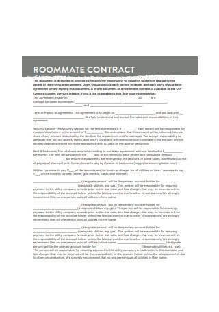 Off Campus Roommate Contract