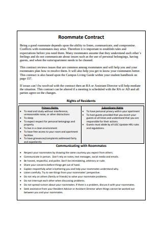 Official Roommate Contract