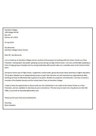 On Campus Employment Cover Letter