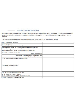 Operations Assessment Questionnaire
