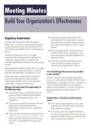 Organization Meeting Minutes Sample