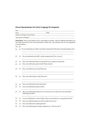 Parent Questionnaire for Early Language Development