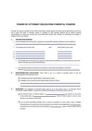 Parental Power of Attorney for Minor Child