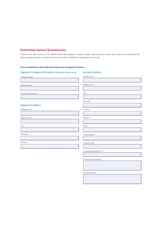 Partnership Contract Questionnaire