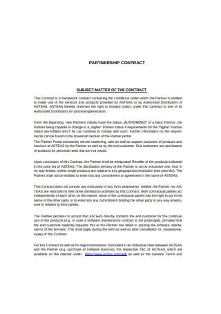 Partnership Framework Contract