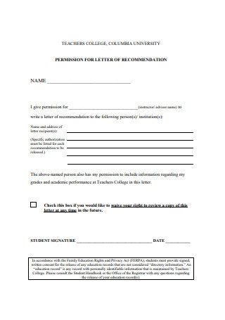 Permission for Letters of Recommendation