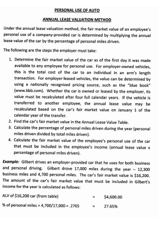 Personal Annual Lease Valuation Methods