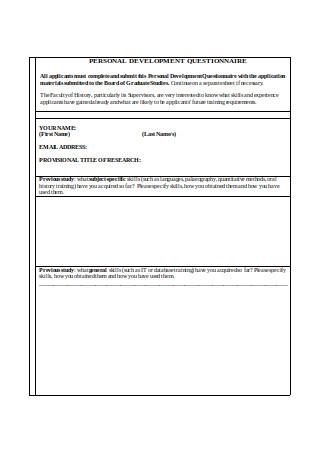 Personal Development Questionnaire