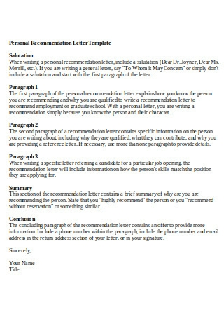 Personal Letter Of Recommendation Format from images.sample.net