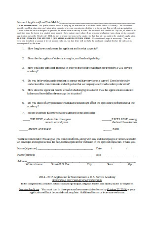 Personal Recommendation Letter Forms