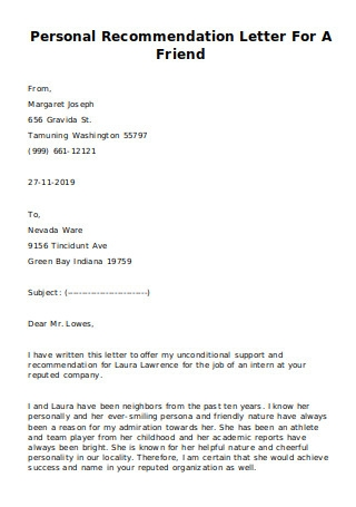 Personal Recommendation Letter for a Friend