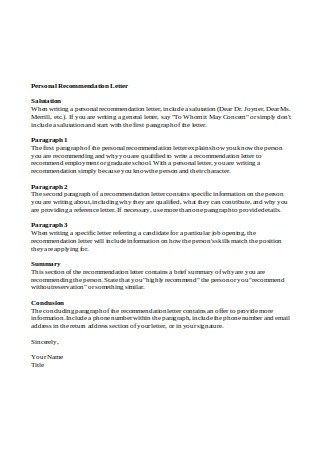 Personal Recommendation Letter