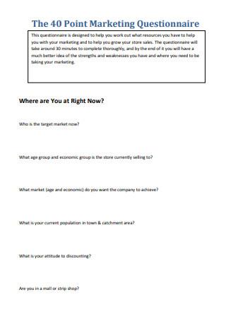 Point Marketing Questionnaire