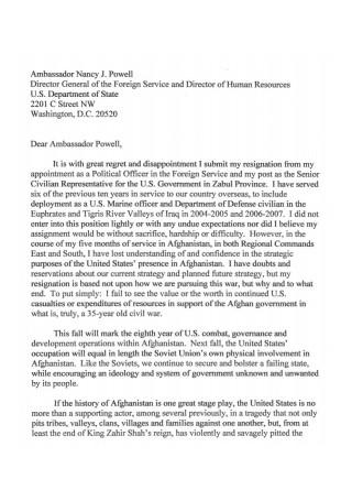 Political Resignation Letter