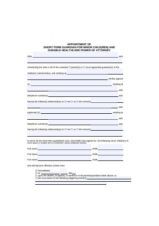 Power of Attorney Appointment for Minor Child
