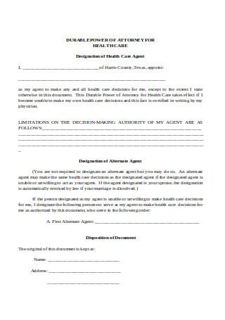 Power of Attorney Designation of Health Care Agent