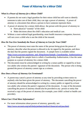 Power of Attorney for a Minor Child Example