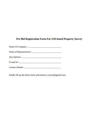 Pre Bid Registration Form for Property Survey