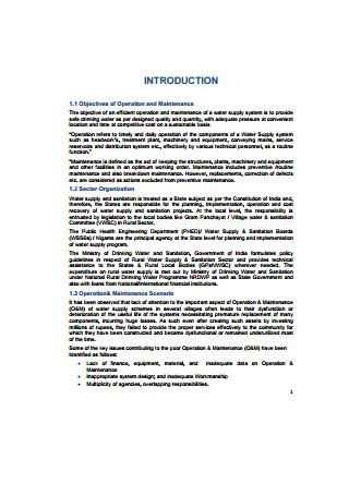 Preparation of Maintenance Plan