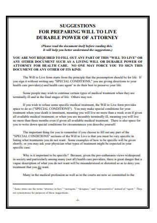 Preparing Live Durable Power Attorney