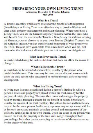Preparing Your Own Living Trust