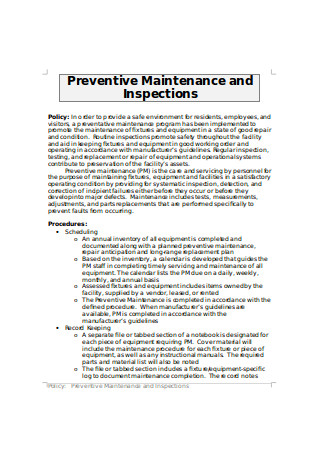 Preventive Maintenance and Inspections