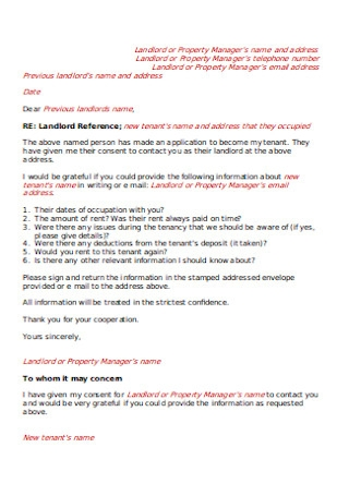 Previous Landlord Reference Letter Sample