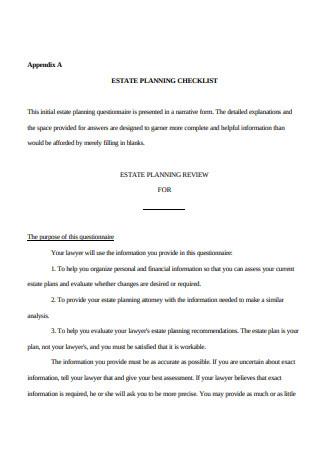 Printable Estate Planning Checklist Sample