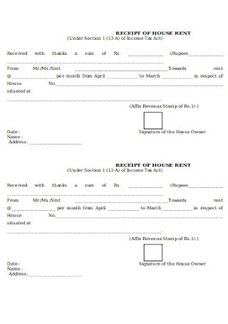Printable Receipt of House Rent