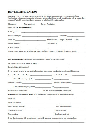 Printable Rental Application