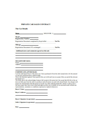 Private Car Sales Contract Sample