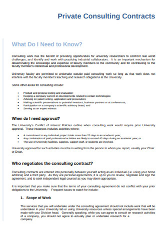 Private Consulting Contracts