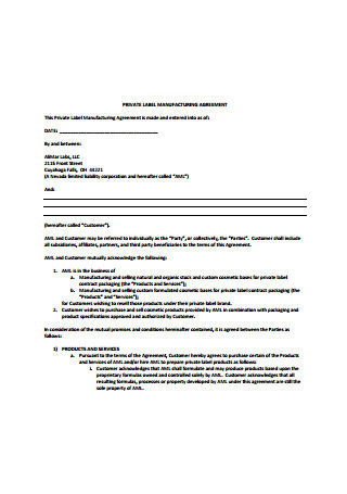 Private Label Manufacturing Agreement