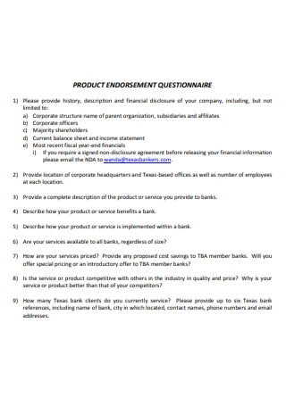 Product Endorsement Questionnaire