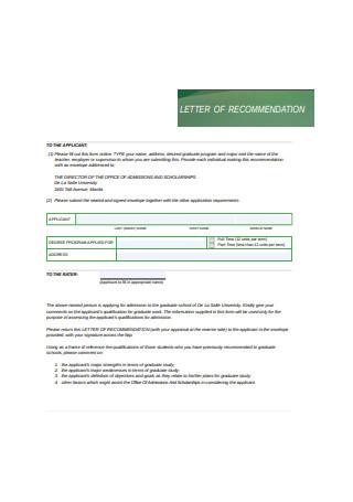 Professional Graduate School Letter of Recommendation