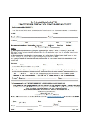 Professional Graduate School Recommendation Request Letter